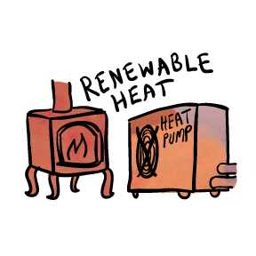 Stay toasty and warm in the winter with wood or pellets or a heat pump system!