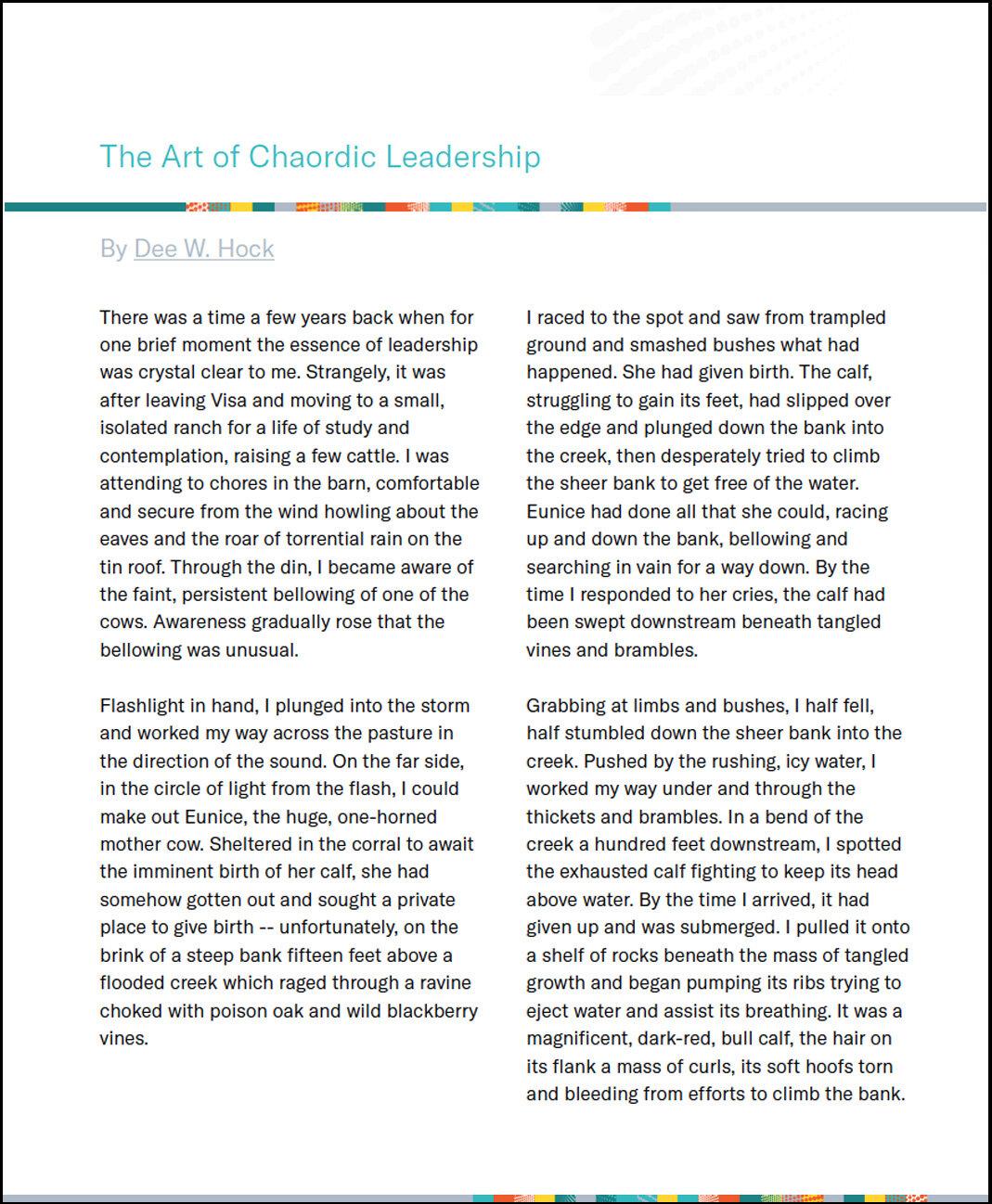 The Art of Chaordic Leadership by Dee Hock