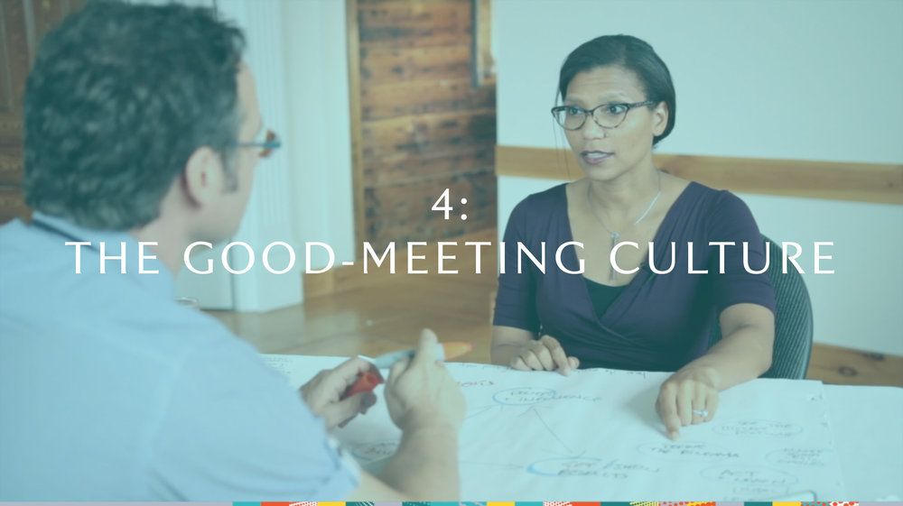 MODULE 4: The good-meeting culture  To shift our impact, we've got to shift the status quo. In session four, Tim and Tuesday examine the culture necessary for time well-spent, examining how to hardwire a repeatable process that draws the greatest enthusiasm and learning.