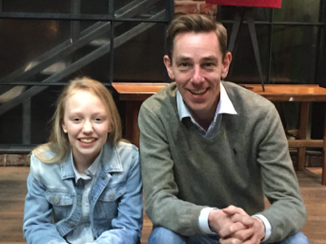 Sarah with popular RTE Presenter Ryan Tubridy also a bookworm on the RTE Late Late set in Dublin.