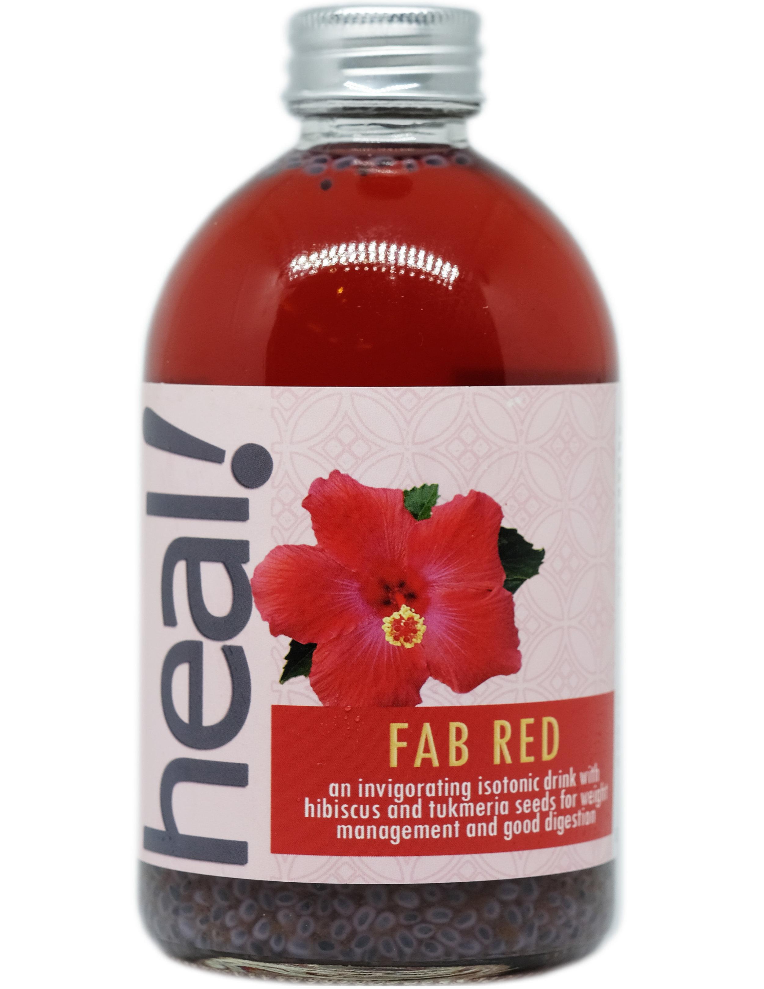 Minuman probiotik campuran Fab Red berwarna sangat cerah karena campuran teh rosela. Rosela sangat kaya dengan vitamin C, mineral dan antioksidan. Rosela membantu fungsi hati dan menurunkan berat badan. Selasih ditambahkan dalam Fab Red ini karena khasiat selasih dalam menurunkan suhu badan dengan cepat, menurunkan kadar gula darah, mengandung serat tinggi, dan menurunkan berat badan. Selasih juga mempunyai rasa yang sangat bersahabat.  Fab Red termasuk minuman isotonik, yang berarti berviskositi sama dengan sel-sel tubuh, menjadikan minuman ini baik sebagai pengganti keringat dan ion-ion hilang setelah jatuh sakit.  Komposisi: Air Mineral, Kultur Kombucha, Kultur Water Kefir, Teh Rosela, Selasih, Daun Mint, Teh Jawa Oolong, Gula Tebu Alami  Kalori 35, Gula 4 gram per 175 ml sebelum fermentasi kedua yang membuat kadar kalori dan gula akan menjadi lebih rendah lagi.  Minuman ini dikemas dalam botol gelas, 100% recyclable, reusable, dan  refundable . 370 ml.  RESEP  klik di sini   KONTAK KAMI  klik di sini