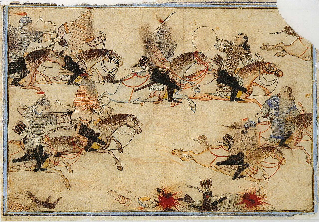 Mounted warriors pursue enemies. Illustration of Rashid-ad-Din's  Gami' at-tawarih . Tabriz, first quarter of the fourteenth century. Water colours on paper. Original size: 17.5 cm x 25.8 cm. Staatsbibliothek Berlin, Orientabteilung, Diez A fol. 70, p. 59.