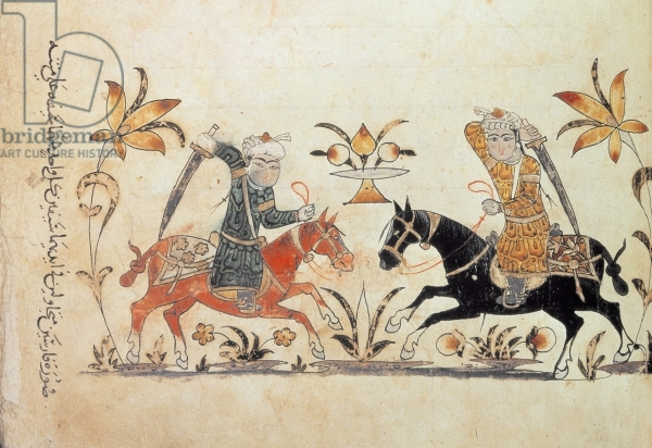 Cavalry Charge from ' Nihayat al-Sul ' (' A Manual of Horsemanship and Military Practice' ), 1371 (detail of 53088), Islamic School, (14th century) / British Library, London, UK / © British Library Board. All Rights Reserved / Bridgeman Images