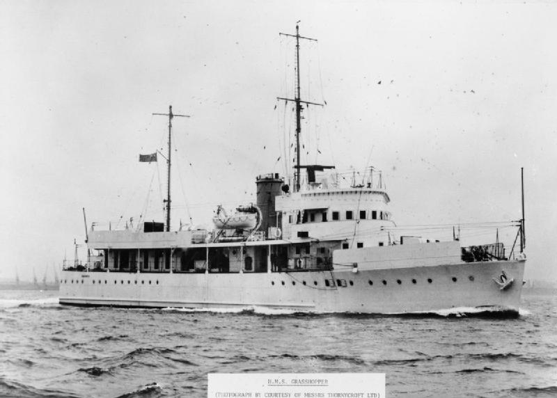 HMS Grasshopper: built by Yarrow Shipbuilders, Glasgow in 1939, operated in a gunboat squadron in Shanghai securing Chinese rivers until the Japanese invaded China when Grasshopper and Dragonfly were sent to Batavia when they were bombed on 14 February 1942.