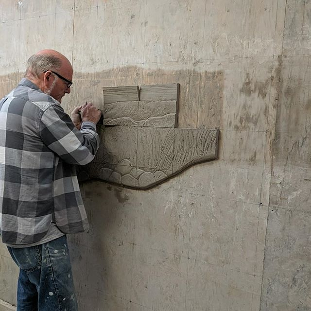 The next step in the mural. Cutting the tiles off the wall and doing the finish word on the backs of all the tiles.  #muralart #mural #napavalley #napaart #publicart #ceramics #ceramicart #betourneceramics