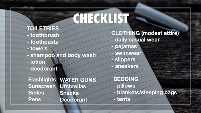 •Here a little check list for everyone