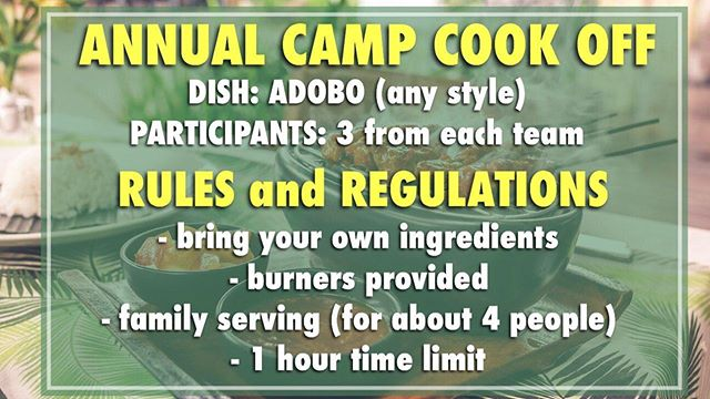 • For those who will be joining us for this year 2k19 Family Camp here are the rule for this year's cook off
