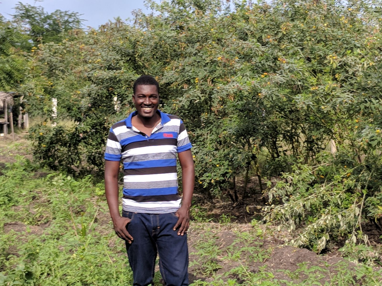 Raphael stands in front of Congo beans, the crop of January.