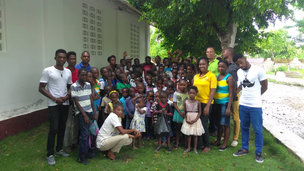 Darline (front) with participants of the summer camp