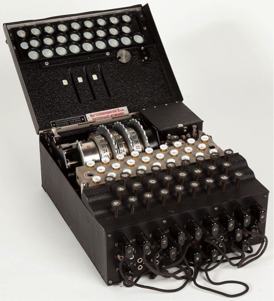 "Military Enigma machine, model ""Enigma I"", used during the late 1930s and during the war; displayed at Museo scienza e tecnologia Milano, Italy"