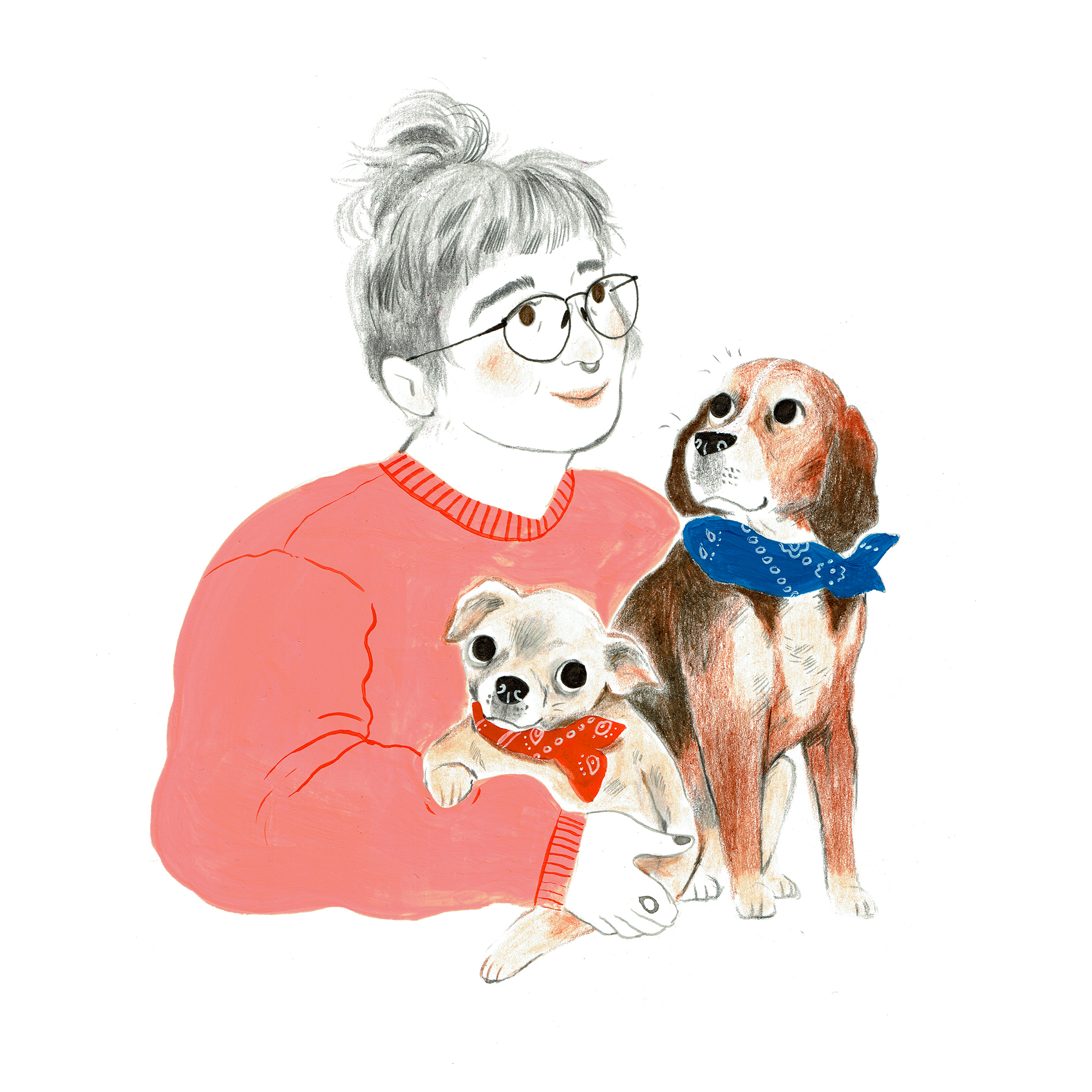 Josephine & Her Dogs // Gouache, Ink & Coloured Pencil, 2018