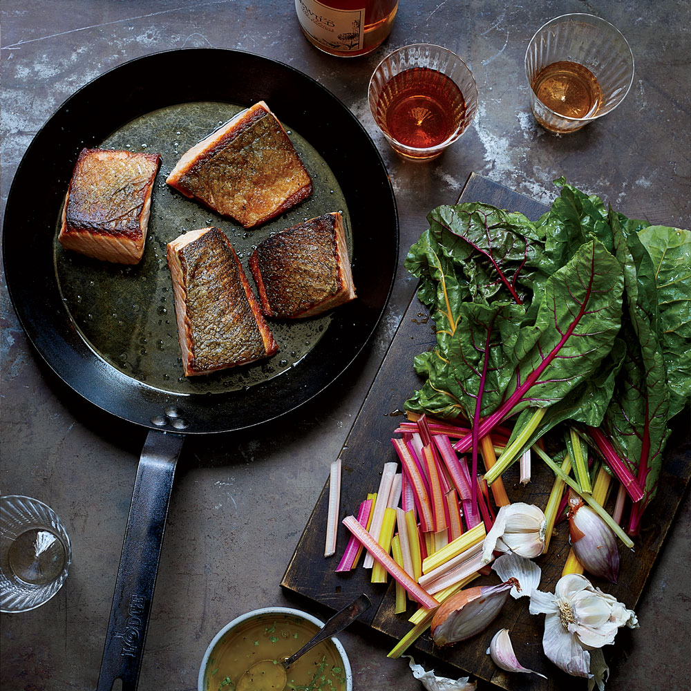 Crispy Salmon and Wilted Chard