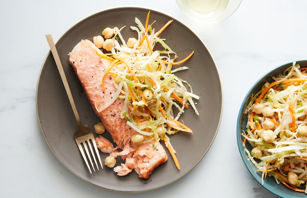 Roasted Salmon With Toasted Sesame Slaw