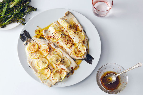 Sheet-Pan Trout With Garlicky Broccolini