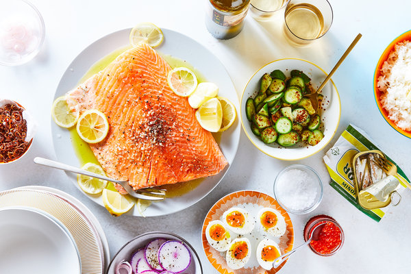 Everyday Salmon With Tangy Cucumbers and Fried Shallots