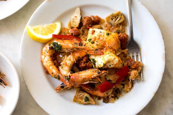 Baked 'Paella' With Shrimp, Chorizo and Salsa Verde