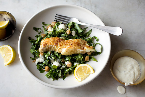 Pan-Fried Halibut With Spiced Chickpea and Herb Salad