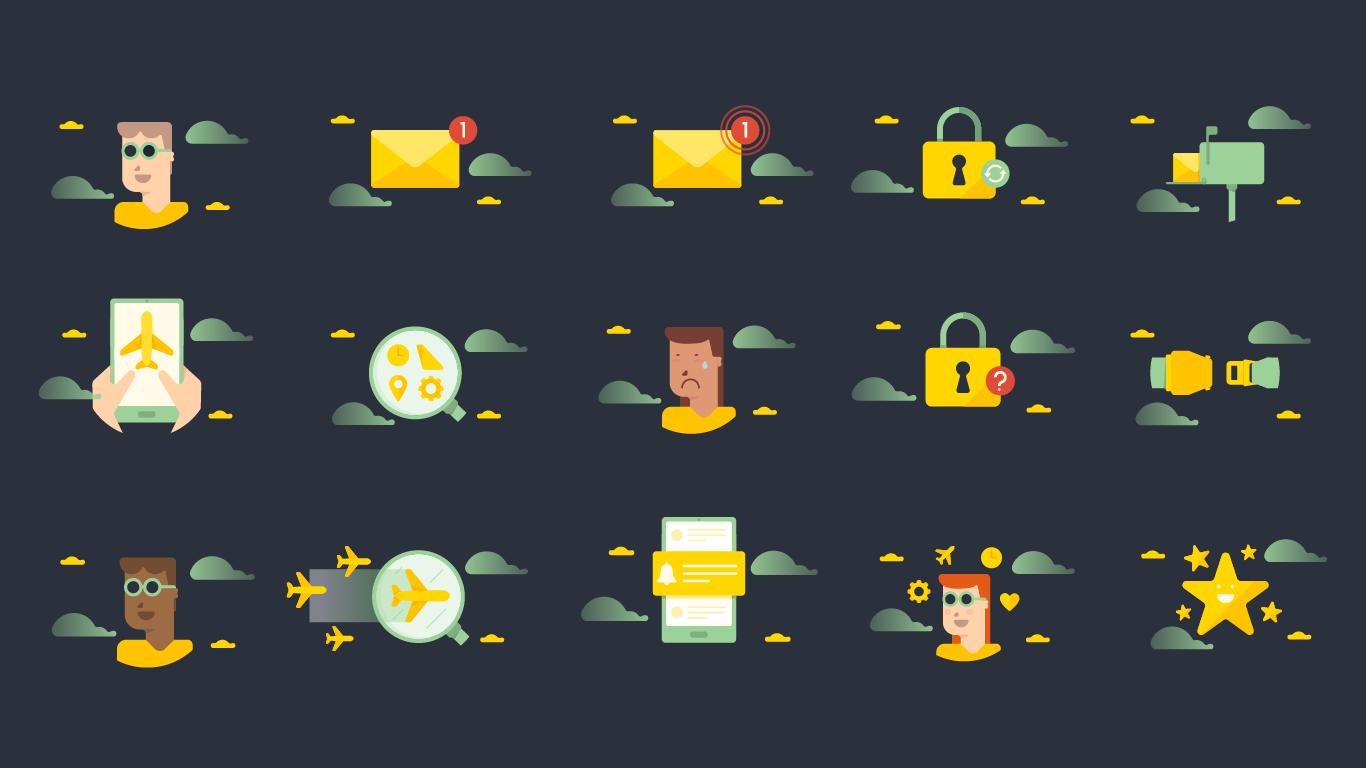 Illustrations taken from the app userflow