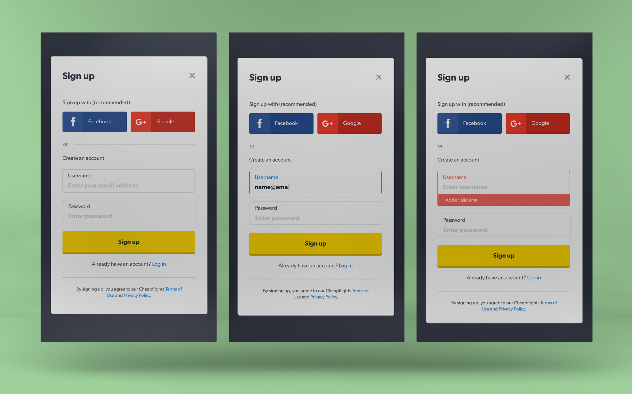 Personalisation sign up form styling using new components from the Visual Design System - States: Default / Focus / Error - Form is less cluttered and optimised for faster sign up