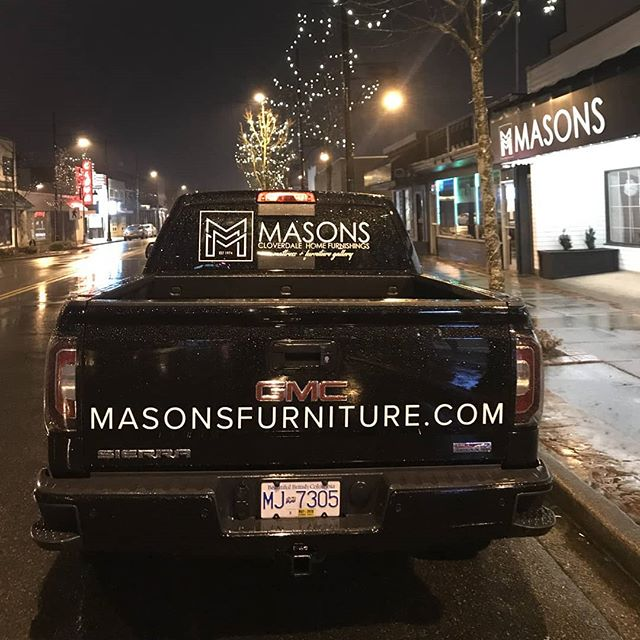 New decals for Masons Furniture Cloverdale Home Furnishings EST 1974 #vinyl #vinylwrap #worktruck #cloverdale #furniturestore #vancity #wrapadmedia