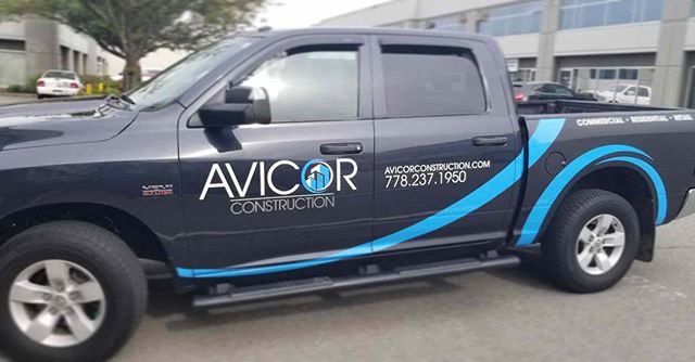 • Avicor Construction •  Did a whole revamp on his logo and then custom wrap - matte black tailgate with custom blue accents  #worktruck #dodgeram #vinyl  #vinylwrap  @avicor.construction