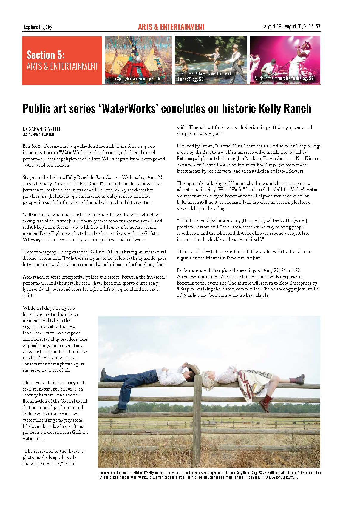 Explore Big Sky, August 2017: Public art series 'WaterWorks' concludes on historic Kelly Ranch