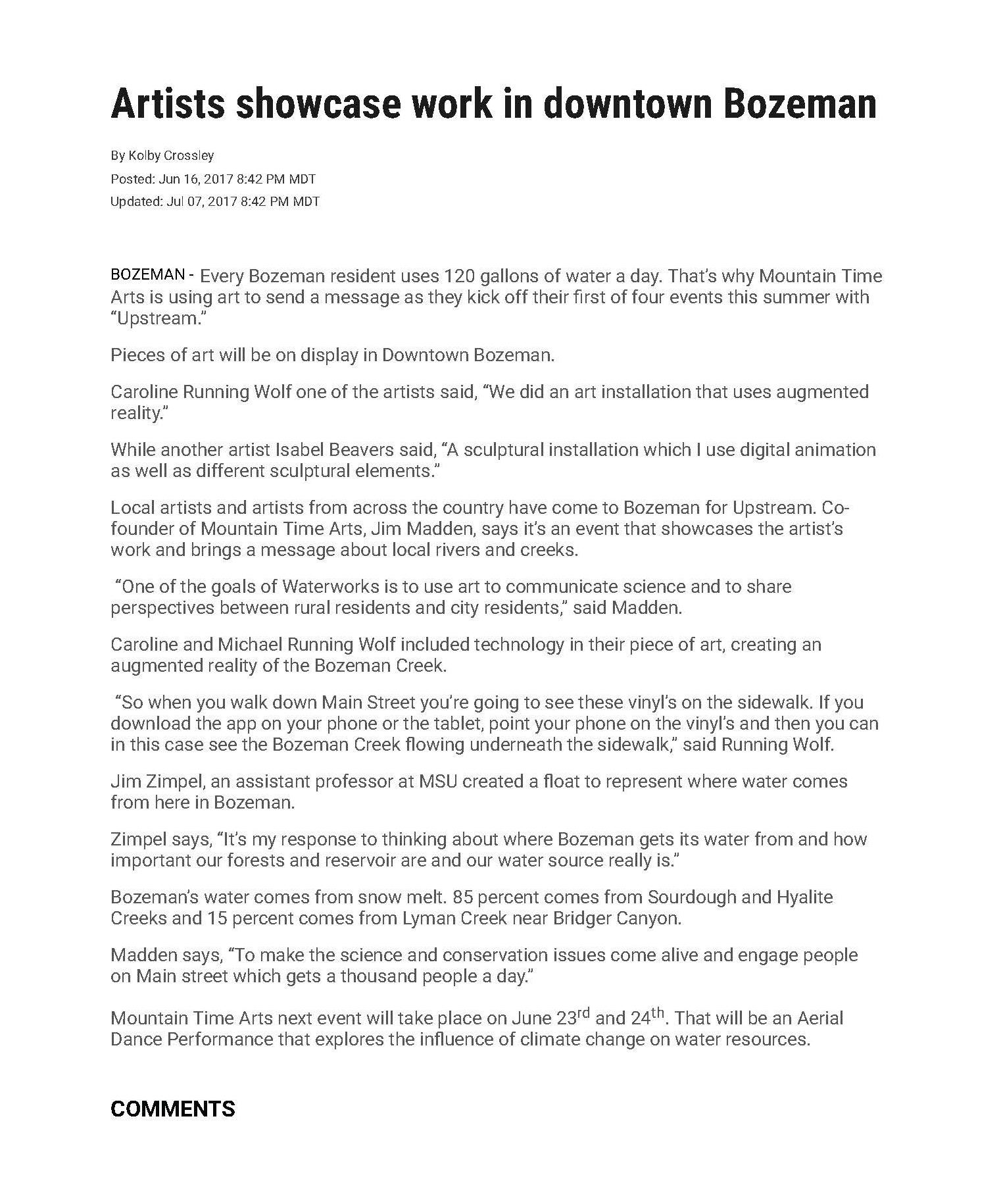 ABC Fox MT, June 2017: Artists showcase work in downtown Bozeman