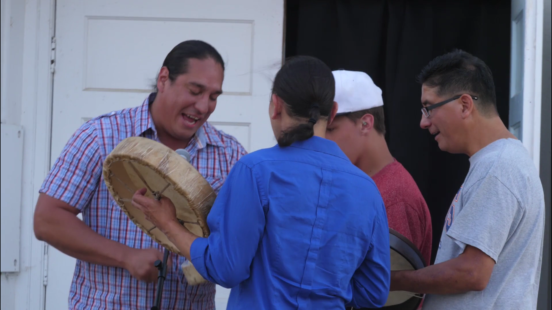 Native American drummers during opening reception.