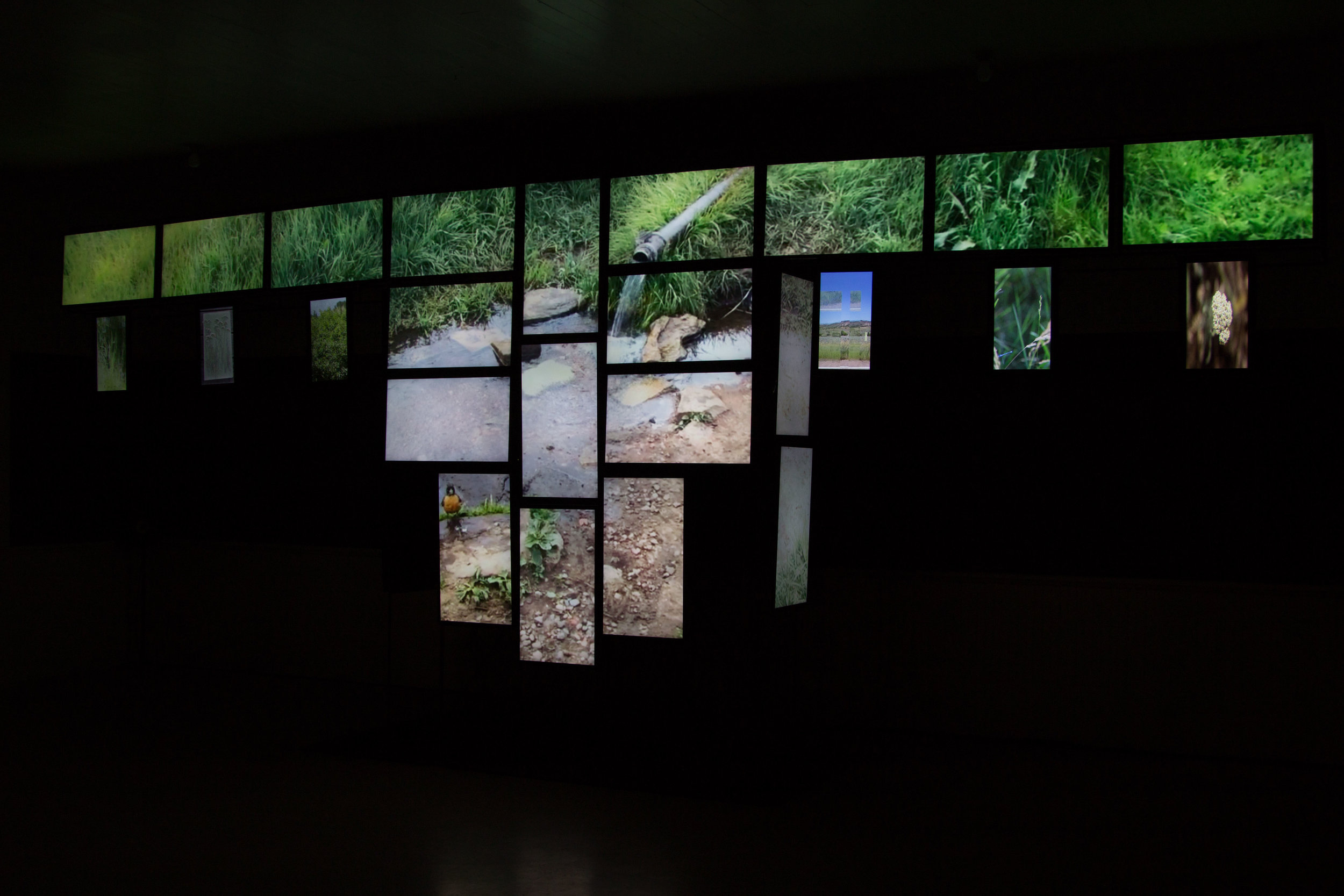 Northern Cheyenne artist Bently Spang's video installation of  War Shirt #6 - Waterways  takes the form of a monumental Plains Indian was shirt using 26 video monitors.
