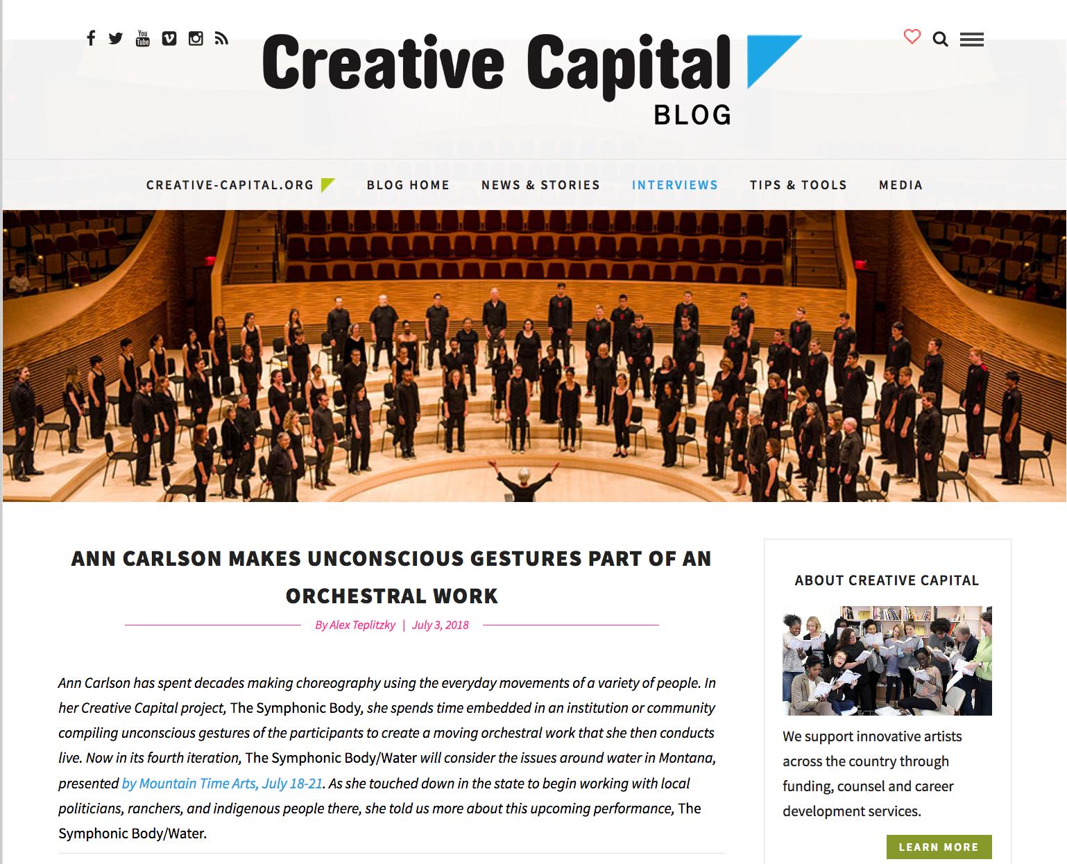 Creative Capital, July 2018