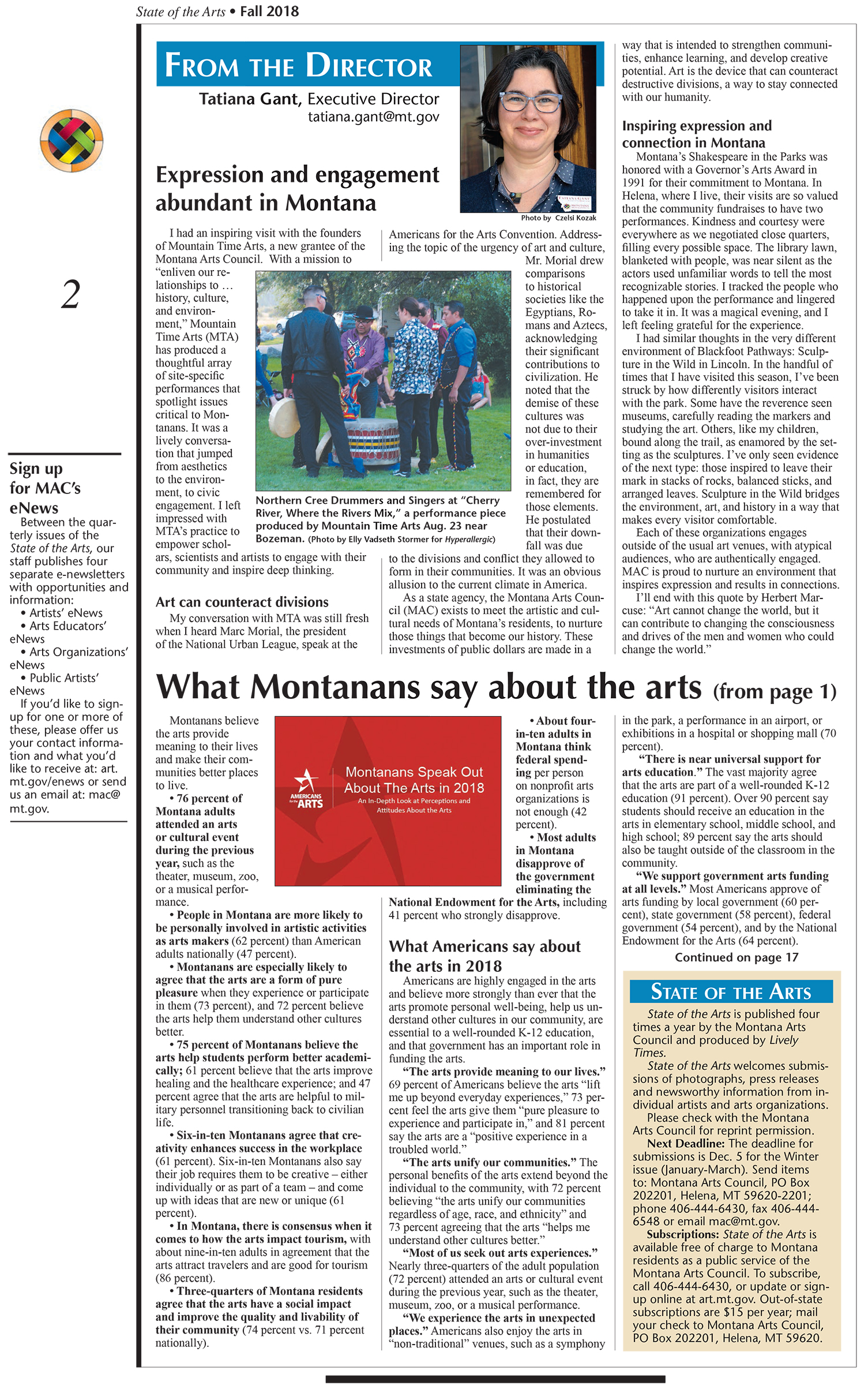 Montana Arts Council, State of the Arts, Fall 2018