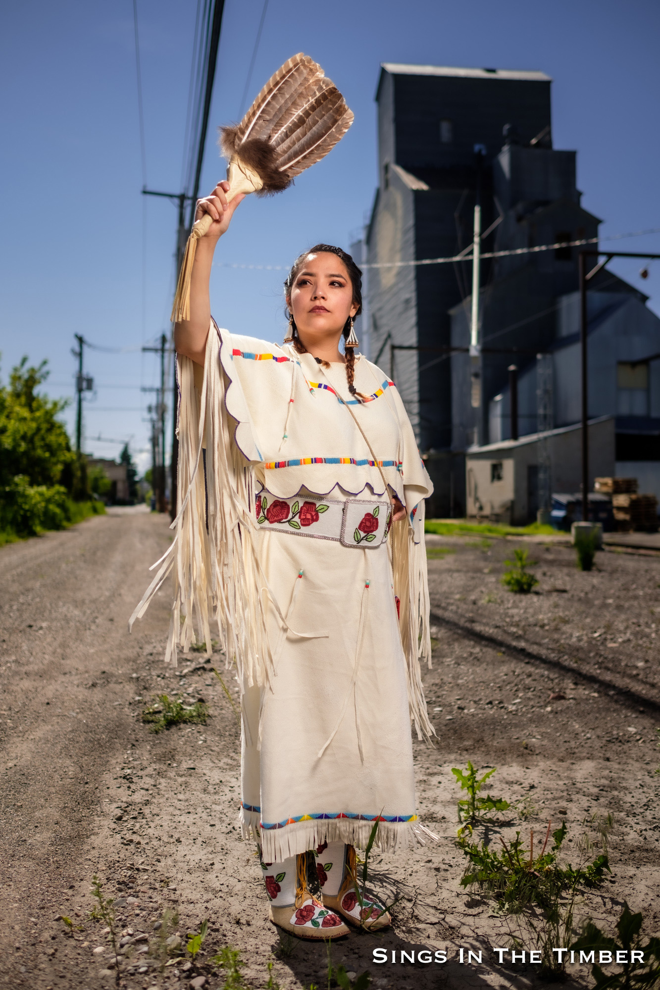 Adam Sings In The Timber, Apsáalooke/Crow,  Indigenizing Colonized Spaces with Alisha Nicole Fisher ,  Tsitsistas/Northern Cheyenne and Apsáalooke/Crow,  2019. Commissioned by Mountain Time Arts.