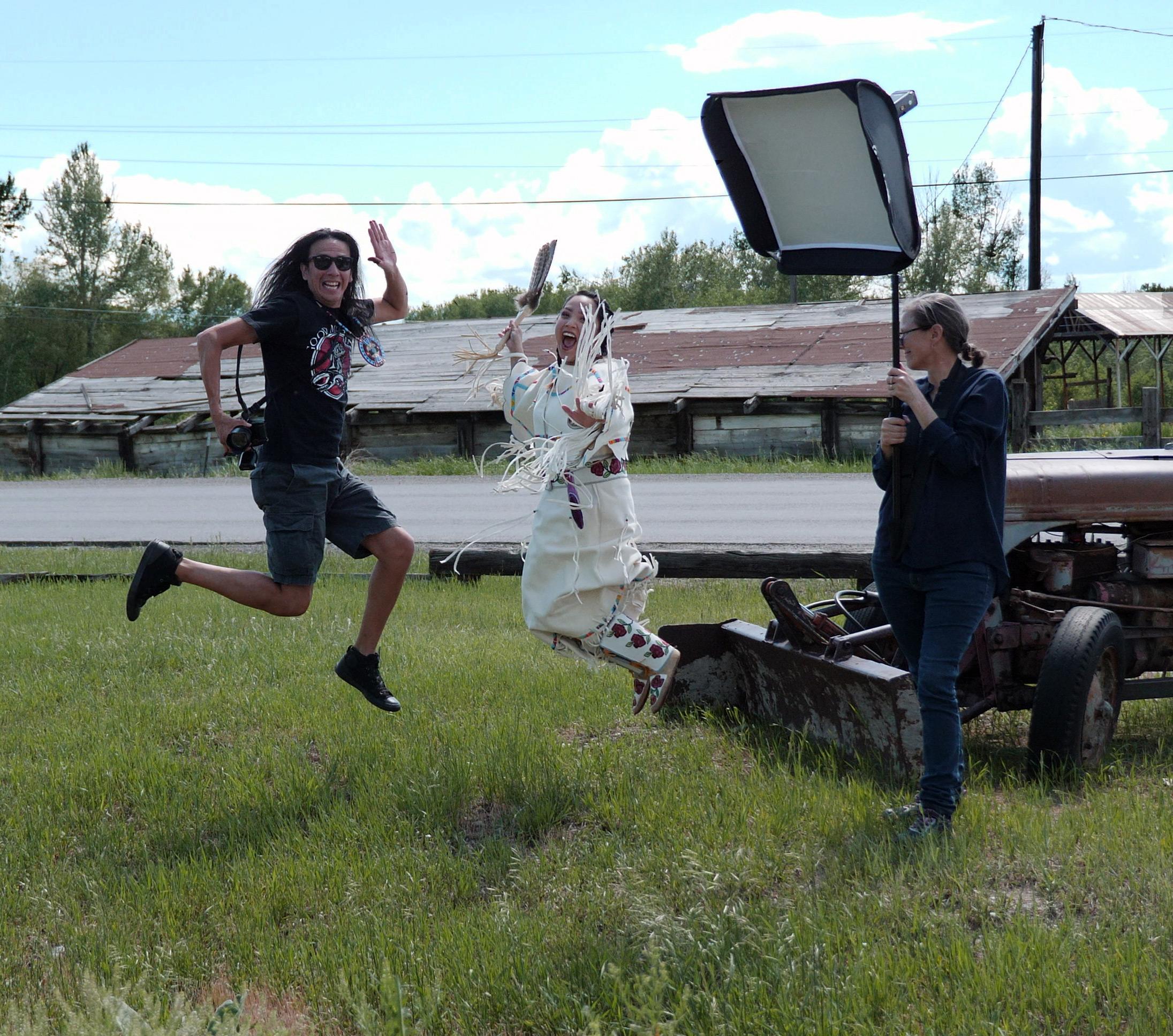 Production shot: Adam Sings In The Timber, Apsáalooke/Crow with   Alisha Nicole Fisher, Tsitsistas/Northern Cheyenne and Apsáalooke/Crow,   2019.