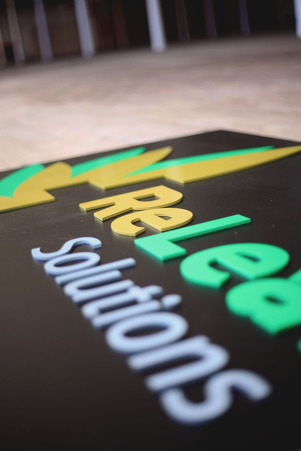 Detail picture of a 3D large wall sign made for a marijuana business.