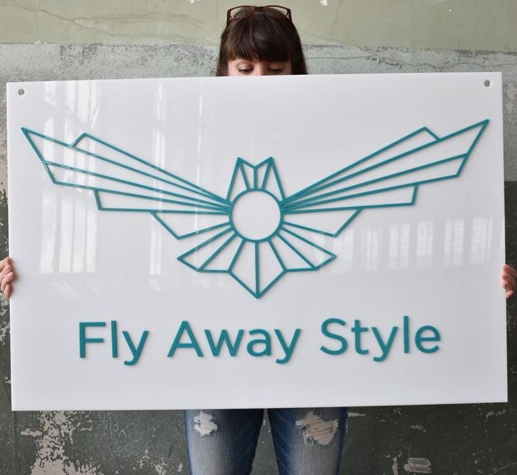 Acrylic custom business sign in white and turquoise