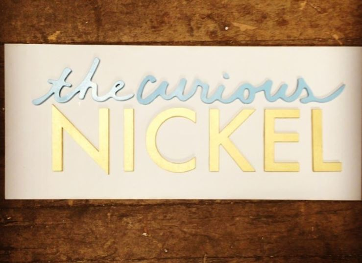Silver and Gold Painted Wood with Raw Wood Business Sign