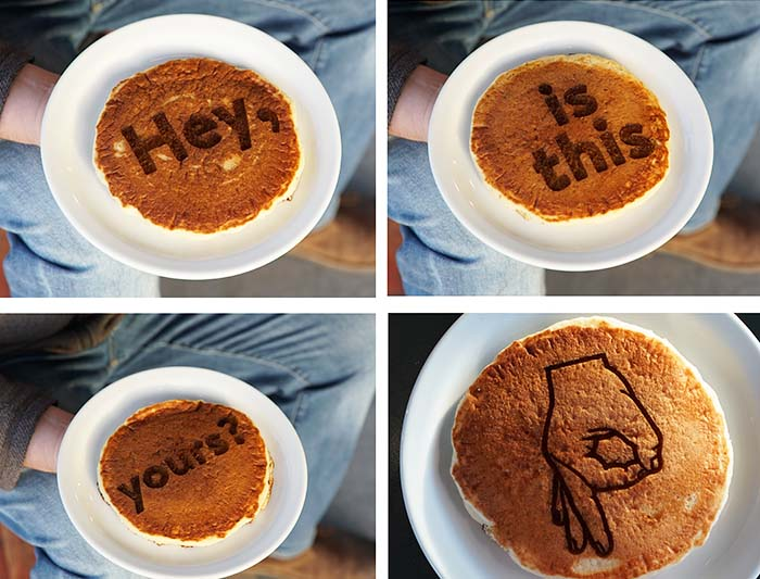 Yes! We can laser engraved food! We engraved these pancakes for an IHop social media campaign.