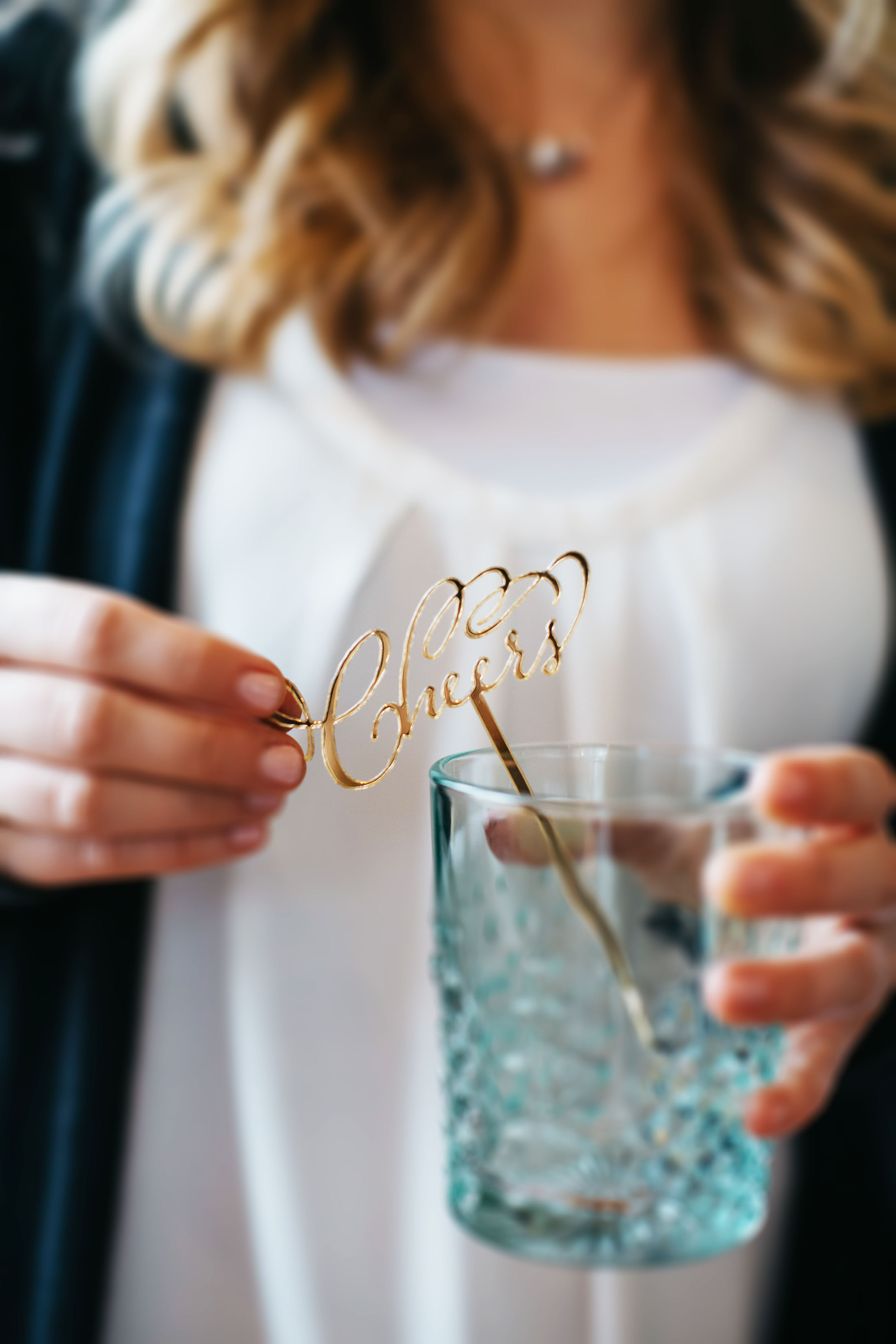 Custom gold mirror cheers drink stirrers we made for a style shoot with  Bespoken Weddings .
