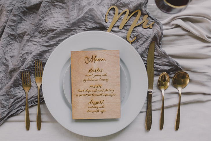 Wood engraved menus made for a style shoot with  A Darling Day Photography .