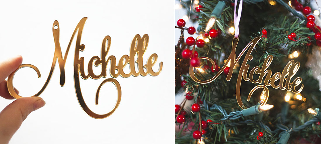 Custom Christmas name ornaments we made and sell on our etsy website  here.