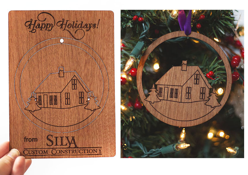 This is a wood veneer card in which an ornament pops out….this Christmas card includes the company logo.