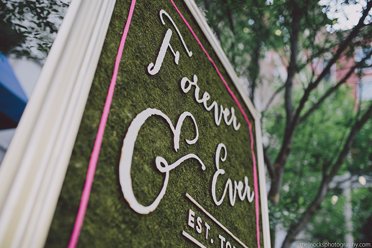 We laser cut the lettering for this fun hedge wall sign, mounted to moss. Made for wedding planners in Greenville SC,  Upstate IDo