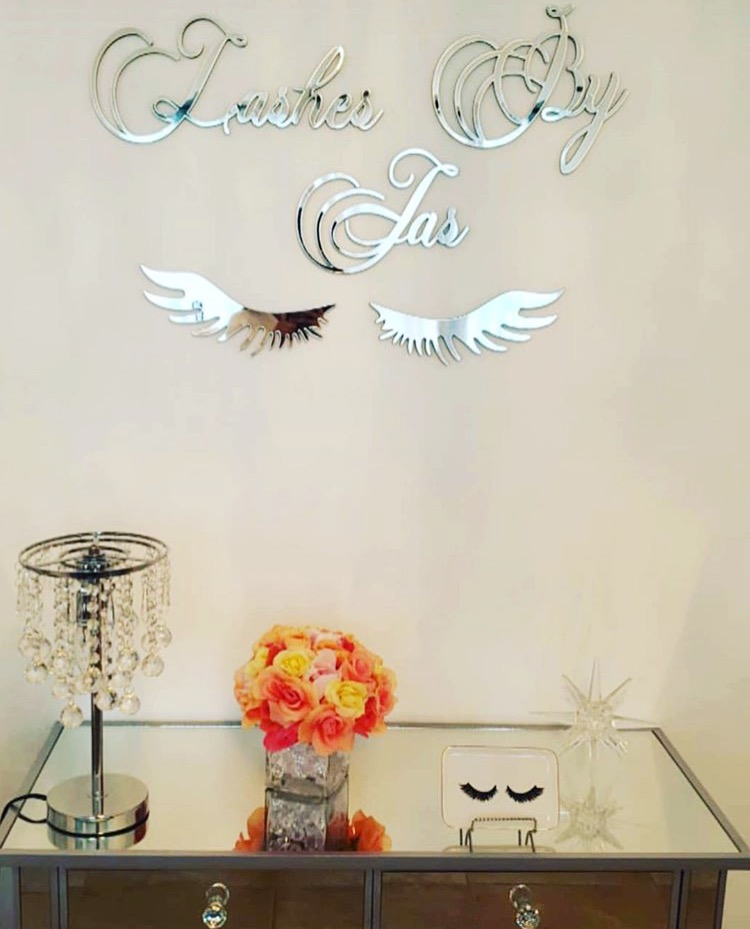 A mirror business logo sign we made for a Lash Bar
