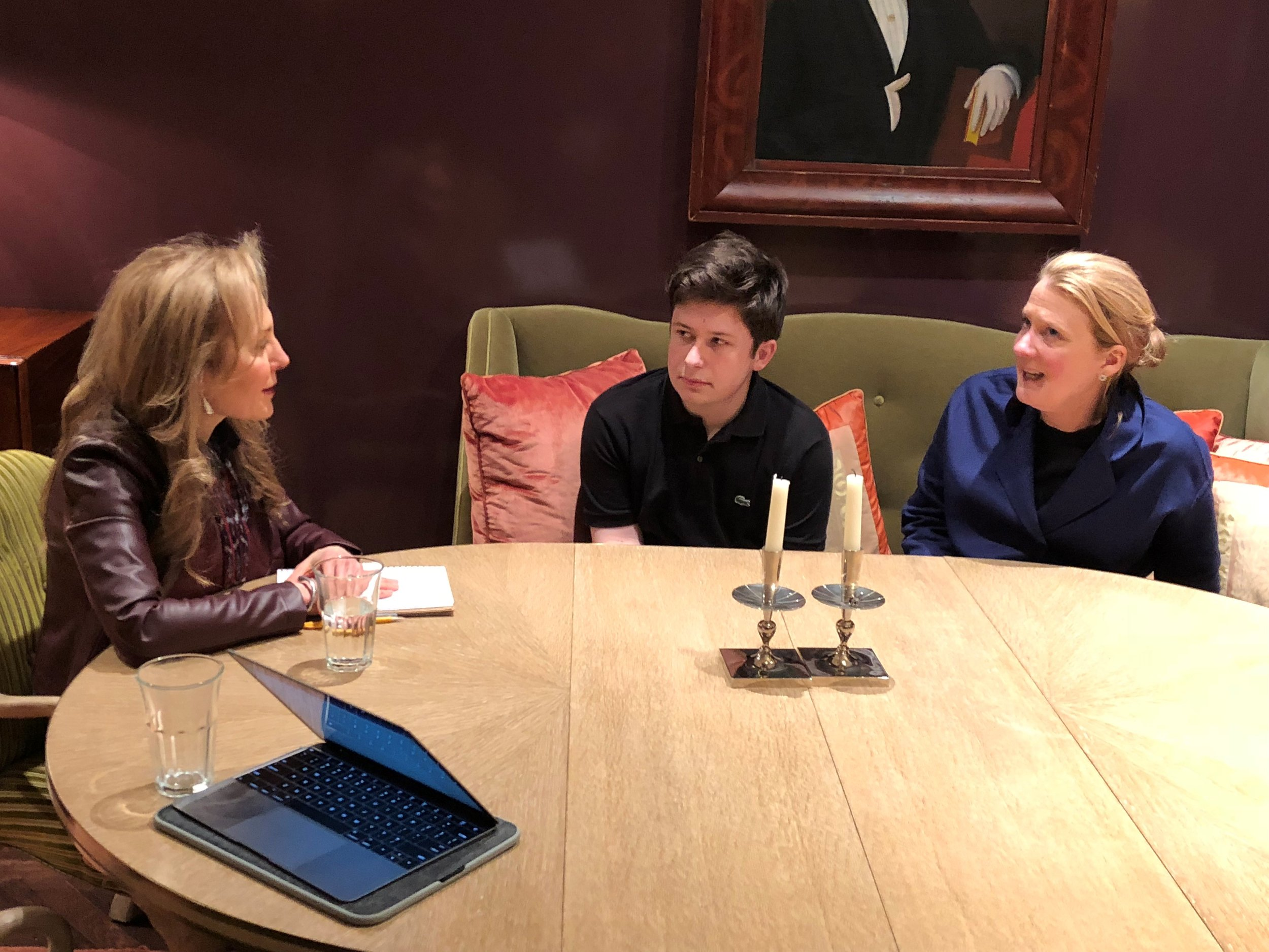 Jill Tipograph meets with a family in their Manhattan home.