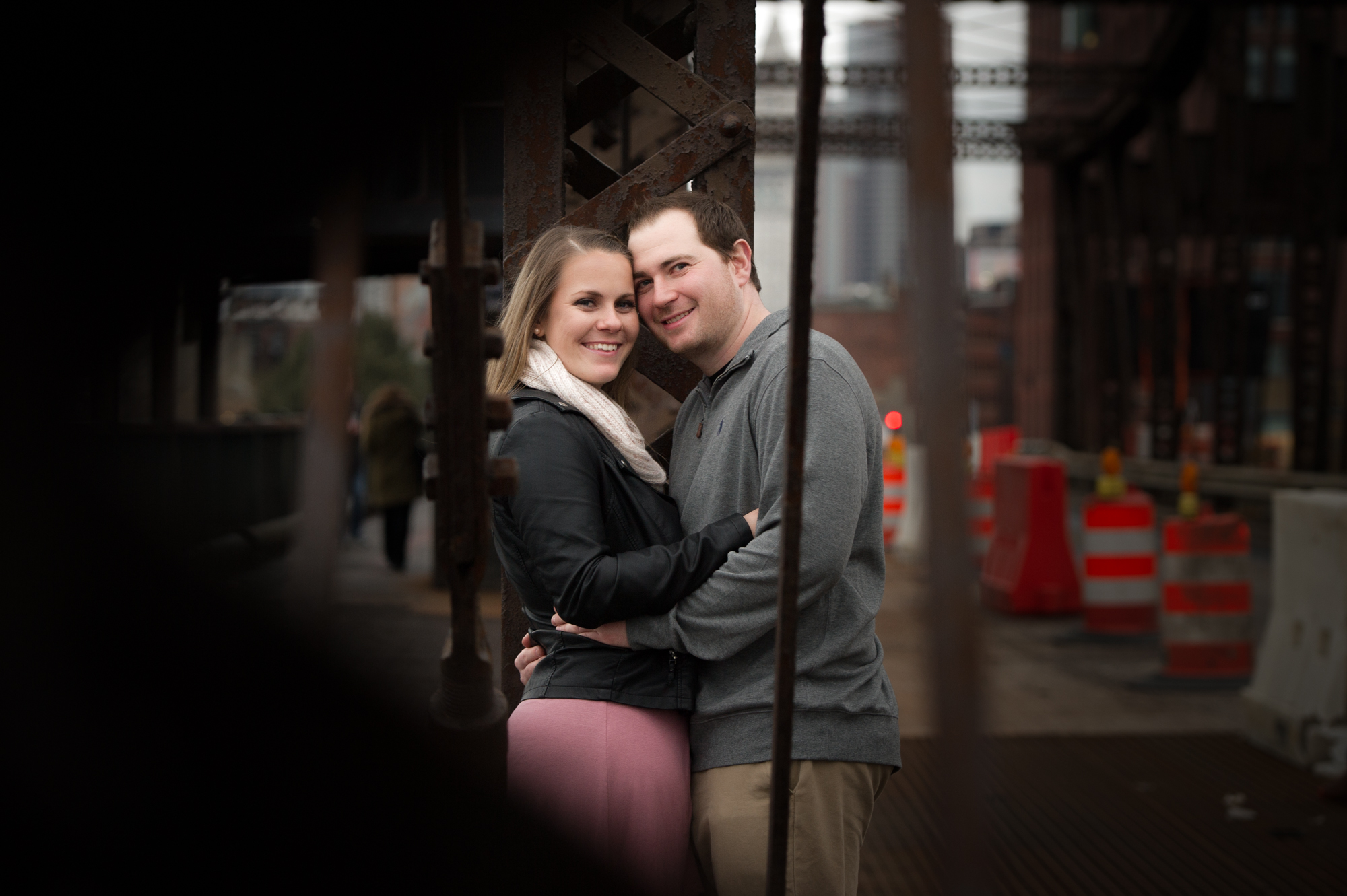 The Charlestown Bridge - a walk that Brittany and Michael waled on their first date. The Charlestown Bridge spans the Charles River. As the river's easternmost crossing, the bridge connects the neighborhoods of Charlestown and the North End.