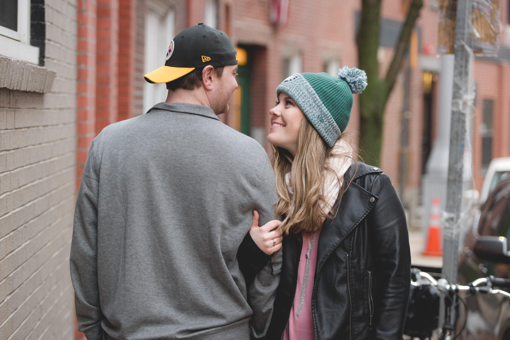 This engagement session was taken right after the Philadelphia Eagles won the Super Bowl.