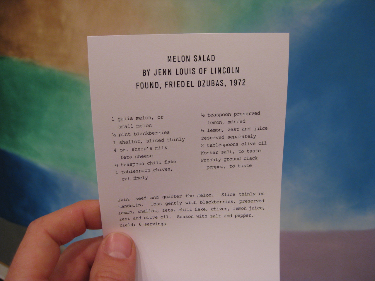 Museum Cookbook, 2012. I collaborated with artist Crystal Baxley to employ 11 local chefs to make recipes based on artworks at the Portland Art Museum. The chefs visited, found artworks, interpreted them into recipes. We situated the recipes next to the corresponding works of art. Visitors could collect them all, requiring them to look deeply throughout the museum, and connect with the artworks on a longer term basis, through the recipes.