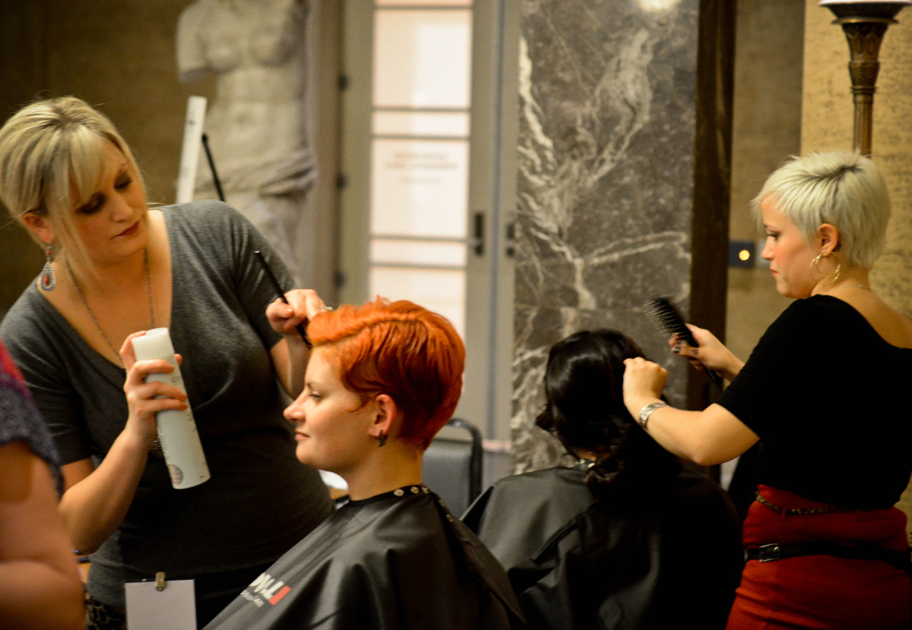 One of Us Salon. During Shine a Light 2012, guests could have an intimate and long term relationship with an artwork by getting a haircut based on it, right in the museum. See all of the haircuts  here