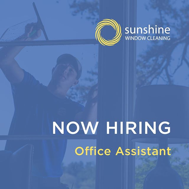 Sunshine Window Cleaning is hiring! We are looking for an office assistant for 24-30 hours/week at our office located in the Montford area. Pay is $12-15/hour with supplemental health benefits. Sunshine Window Cleaning is a small, local and growing company that serves residential and commercial properties in the greater Asheville area.⠀⠀⠀⠀⠀⠀⠀⠀⠀ . ⠀⠀⠀⠀⠀⠀⠀⠀⠀ This position requires someone who is organized, communicative and driven. This can be a fast-paced job and a basic understanding of computers is needed. Some of the tasks involved with this job are:⠀⠀⠀⠀⠀⠀⠀⠀⠀ . ⠀⠀⠀⠀⠀⠀⠀⠀⠀ - Communicating with clients through phone and email⠀⠀⠀⠀⠀⠀⠀⠀⠀ - Organizing and planning crew itineraries - Administrative duties⠀⠀⠀⠀⠀⠀⠀⠀⠀ . ⠀⠀⠀⠀⠀⠀⠀⠀⠀ If you're interested in this opportunity, please contact info@sunshinewindowgutter.com.
