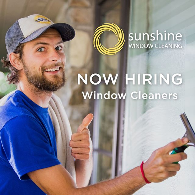 Sunshine Window Cleaning is hiring! We are currently looking for part-time and full-time window cleaners that are hardworking, proactive, punctual, responsible and honest. No previous experience is needed, but experience with ladder work is a plus and may lead to quicker advances in pay. The job is manual labor and requires you to be on your feet for a large part of the work day and to be outside.⠀⠀⠀⠀⠀⠀⠀⠀⠀ . ⠀⠀⠀⠀⠀⠀⠀⠀⠀ Pay is $12 to $15/hour.⠀⠀⠀⠀⠀⠀⠀⠀⠀ . ⠀⠀⠀⠀⠀⠀⠀⠀⠀ To inquire please email info@sunshinewindowgutter.com.